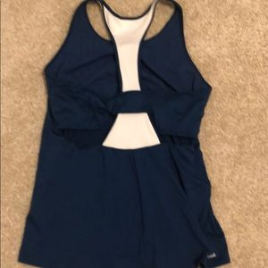 Adidas blue and white tennis or workout top